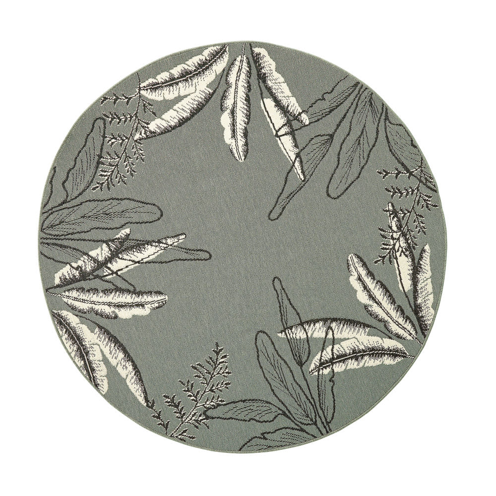 tapis d 39 ext rieur rond vert imprim feuillages d160. Black Bedroom Furniture Sets. Home Design Ideas