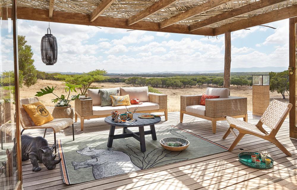 tapis d 39 ext rieur vert imprim s rhinoc ros et feuillages. Black Bedroom Furniture Sets. Home Design Ideas