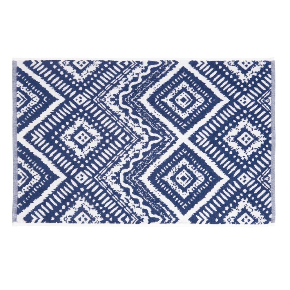 tapis de bain en coton bleu motifs graphiques 50x80 indigo. Black Bedroom Furniture Sets. Home Design Ideas