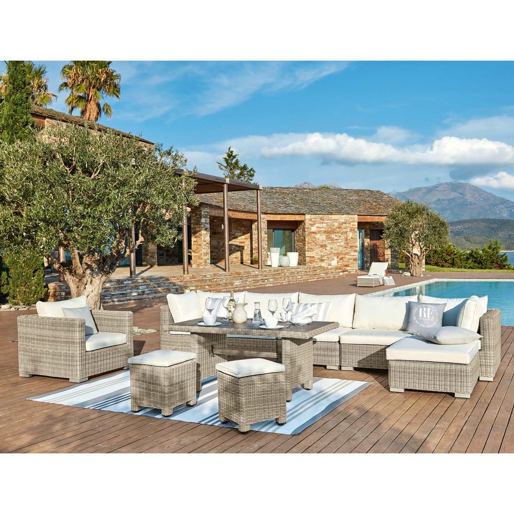 tapis de jardin en tissu ray gris et blanc 120x180 rivage. Black Bedroom Furniture Sets. Home Design Ideas