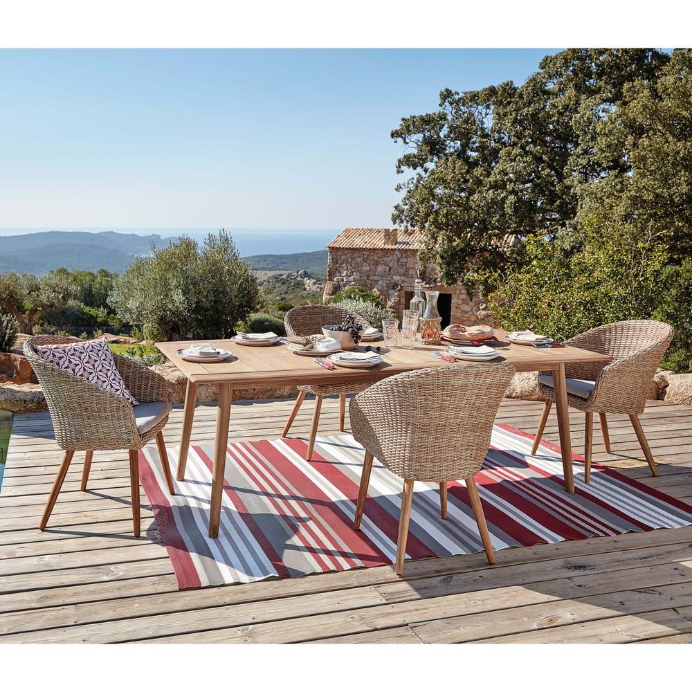 tapis de jardin en tissu ray rouge et blanc 180x270. Black Bedroom Furniture Sets. Home Design Ideas