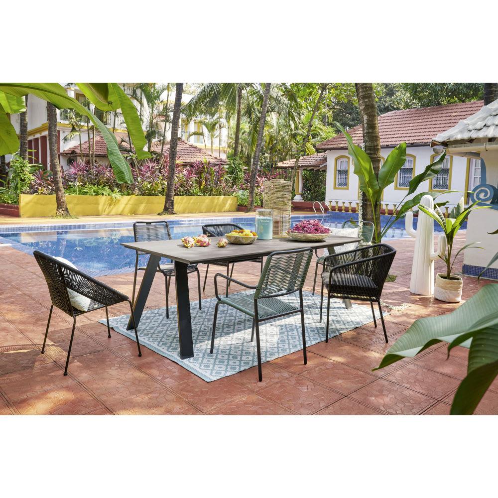 tapis de jardin motifs g om triques blancs et bleus 140x200 jane maisons du monde. Black Bedroom Furniture Sets. Home Design Ideas