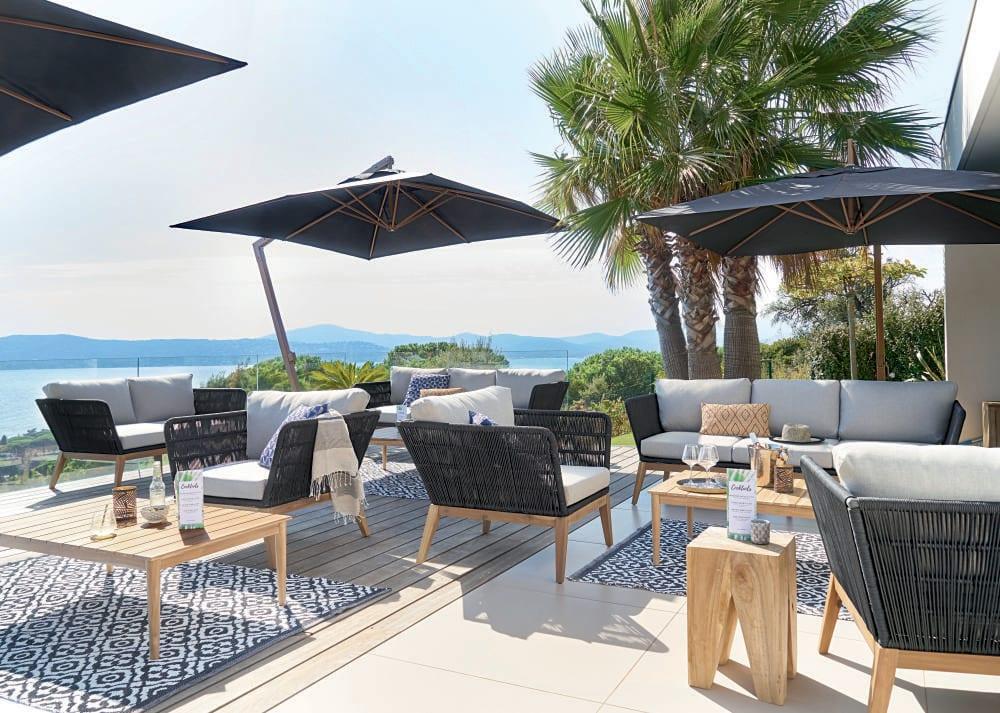 tapis de jardin motifs noirs et blancs 140x200 corolia. Black Bedroom Furniture Sets. Home Design Ideas