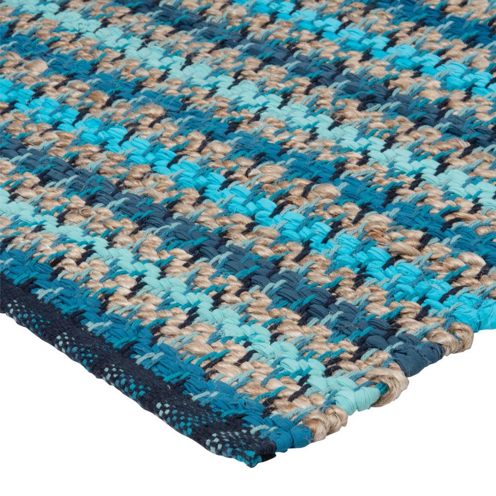 tapis en coton bleu turquoise motifs rayures bleues. Black Bedroom Furniture Sets. Home Design Ideas