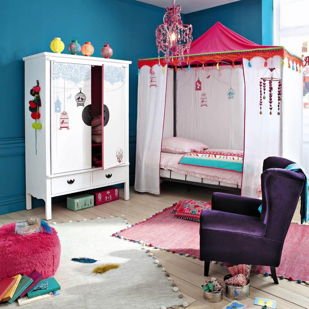 tapis en coton cru 120x180 pompon maisons du monde. Black Bedroom Furniture Sets. Home Design Ideas
