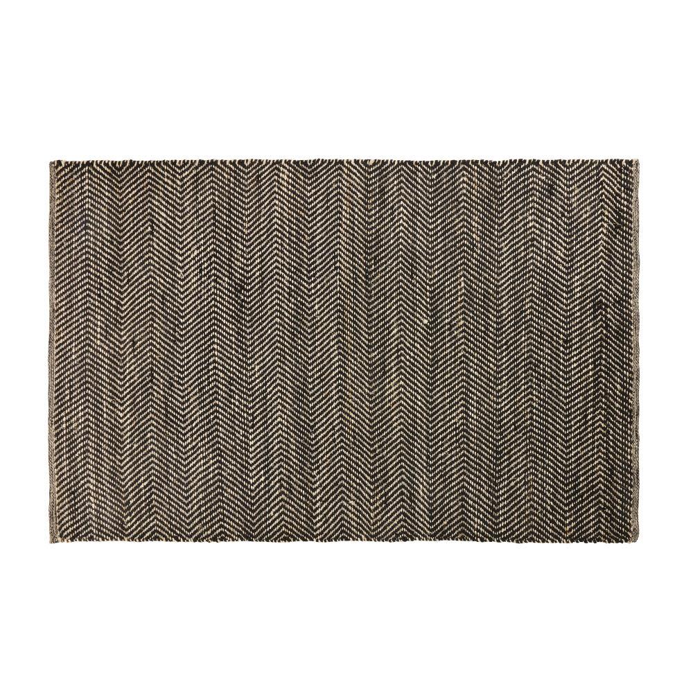 Tapis en coton et jute noir et marron motifs à chevrons 140x200 ...
