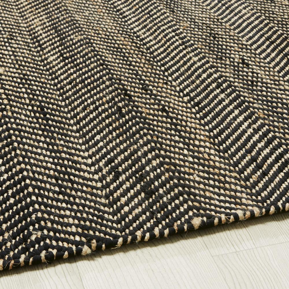 Tapis en coton et jute noir et marron motifs à chevrons 160x230 ...