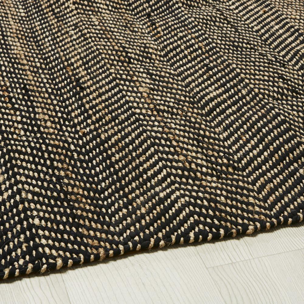 Tapis en coton et jute noir et marron motifs à chevrons 200x200 ...