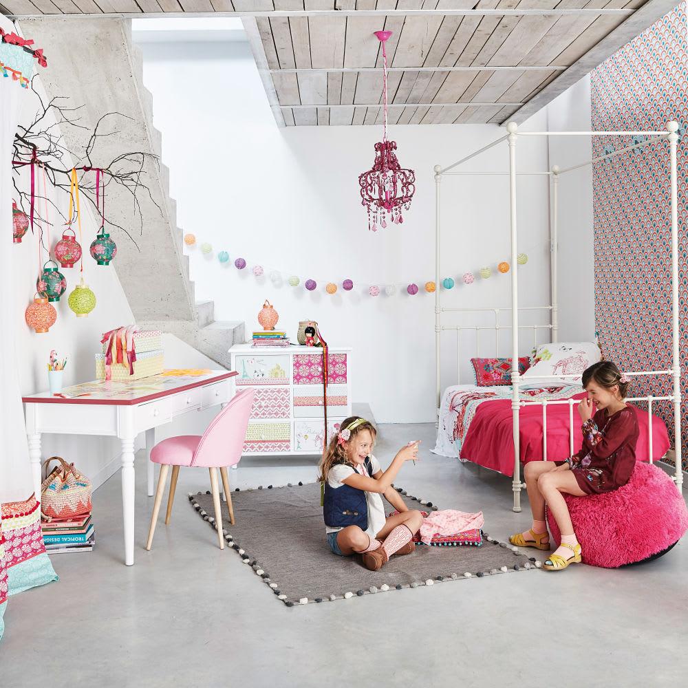 tapis en coton gris 120 x 180 cm pompon maisons du monde. Black Bedroom Furniture Sets. Home Design Ideas