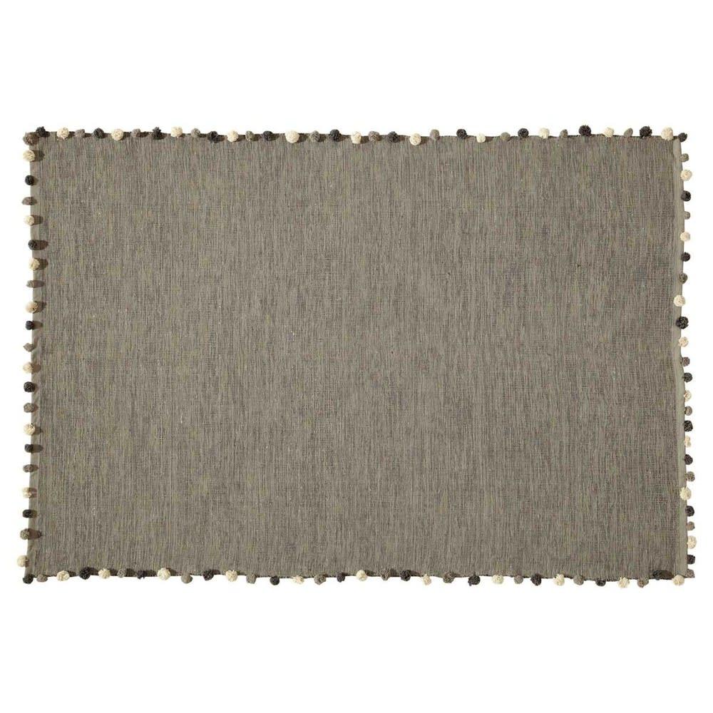 tapis en coton gris 120x180 pompon maisons du monde. Black Bedroom Furniture Sets. Home Design Ideas