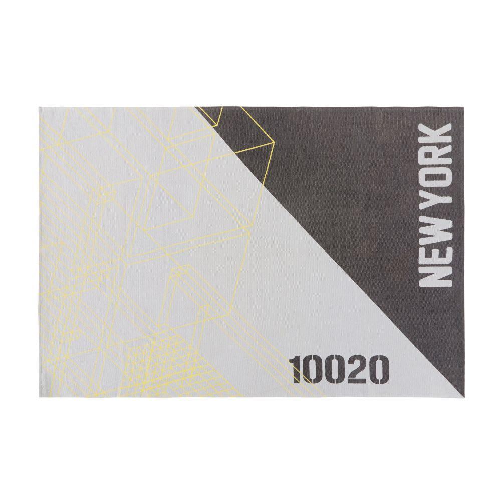 tapis en coton gris et noir motifs graphiques 120x180 brooklyn maisons du monde. Black Bedroom Furniture Sets. Home Design Ideas