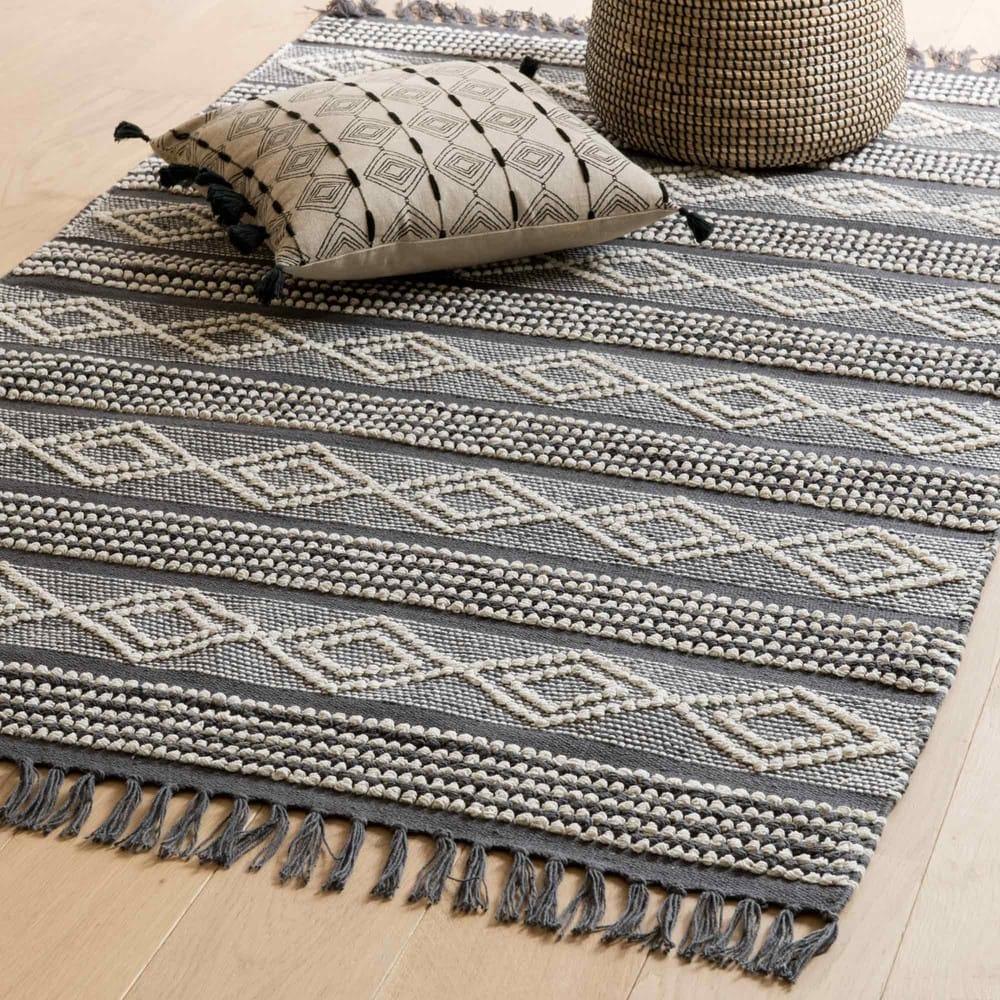 tapis en coton gris fonc et blanc 90x150 leider maisons. Black Bedroom Furniture Sets. Home Design Ideas