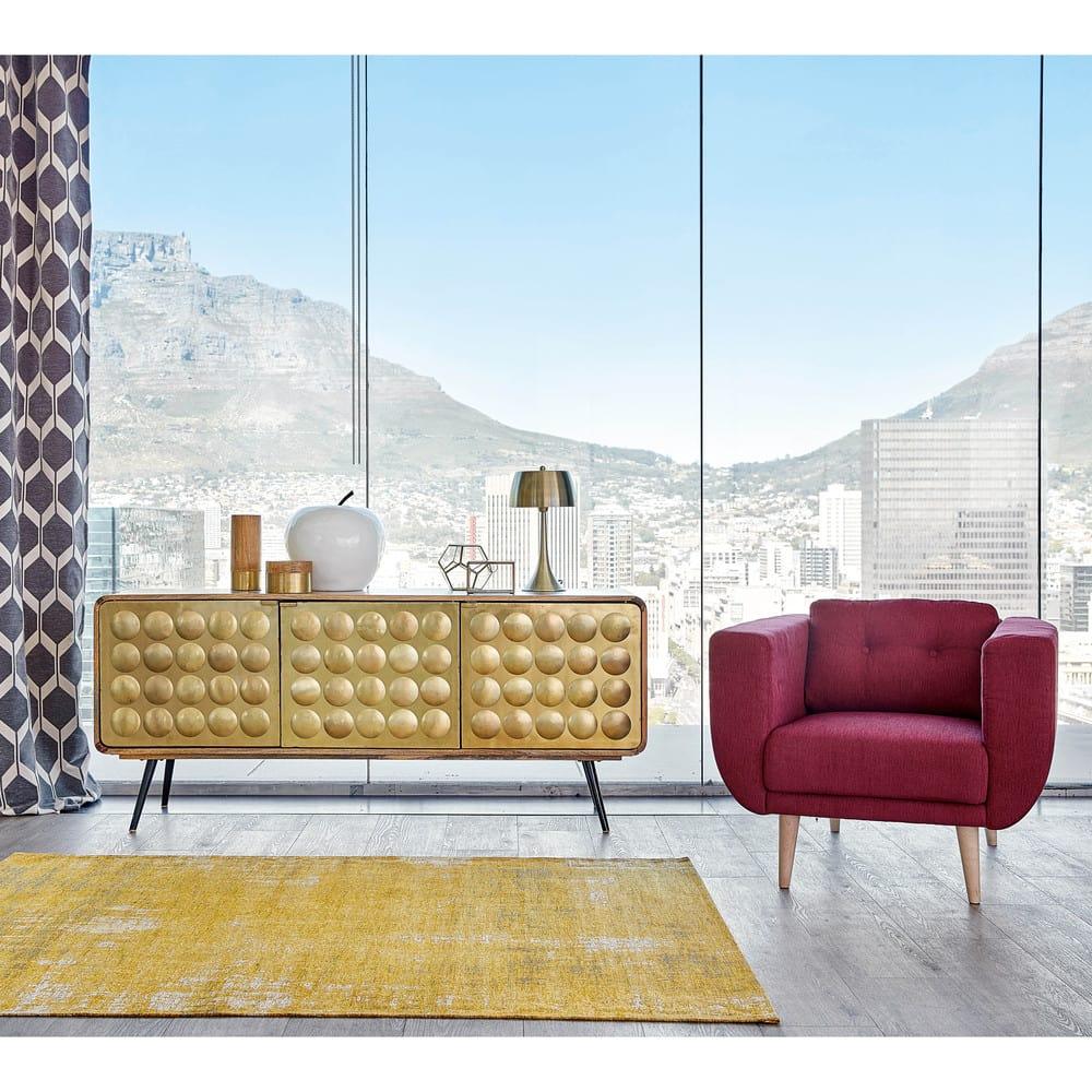 tapis en coton jaune moutarde 155 x 230 cm feel maisons du monde. Black Bedroom Furniture Sets. Home Design Ideas