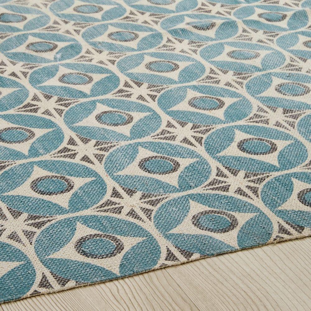 tapis en coton motifs carreaux de ciment bleus 160x230cm. Black Bedroom Furniture Sets. Home Design Ideas