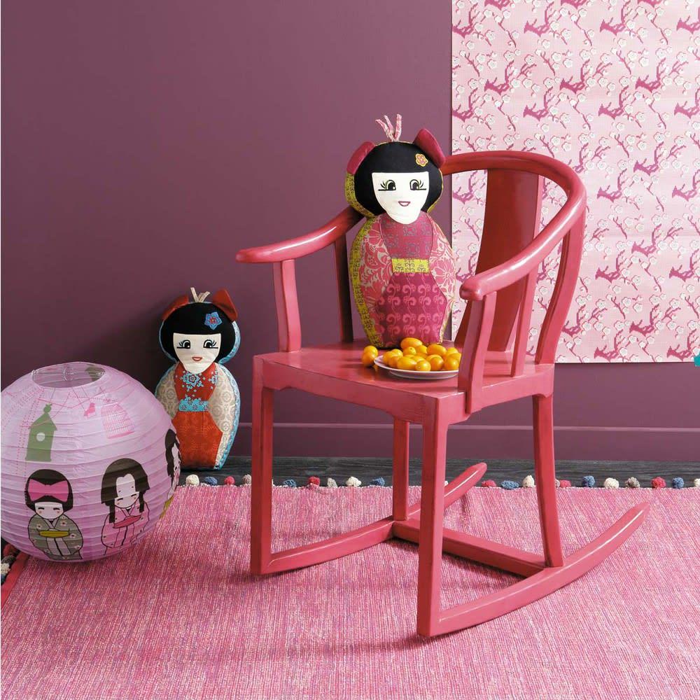 tapis en coton rose fuchsia 120 x 180 cm pompon maisons. Black Bedroom Furniture Sets. Home Design Ideas