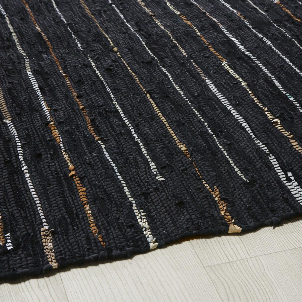 tapis en cuir de vache et coton motifs rayures 140x200 mahdi maisons du monde. Black Bedroom Furniture Sets. Home Design Ideas