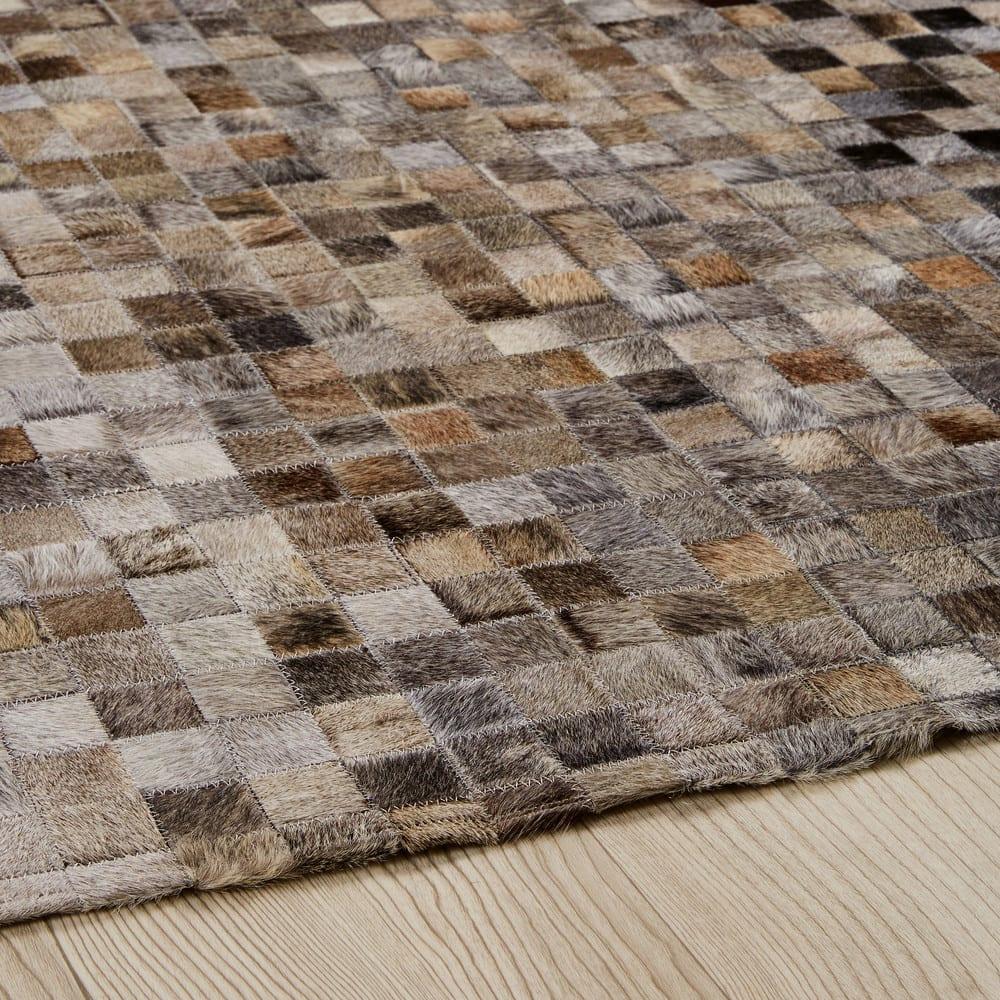 tapis en cuir de vache et laine 140x200 squaru maisons du monde. Black Bedroom Furniture Sets. Home Design Ideas