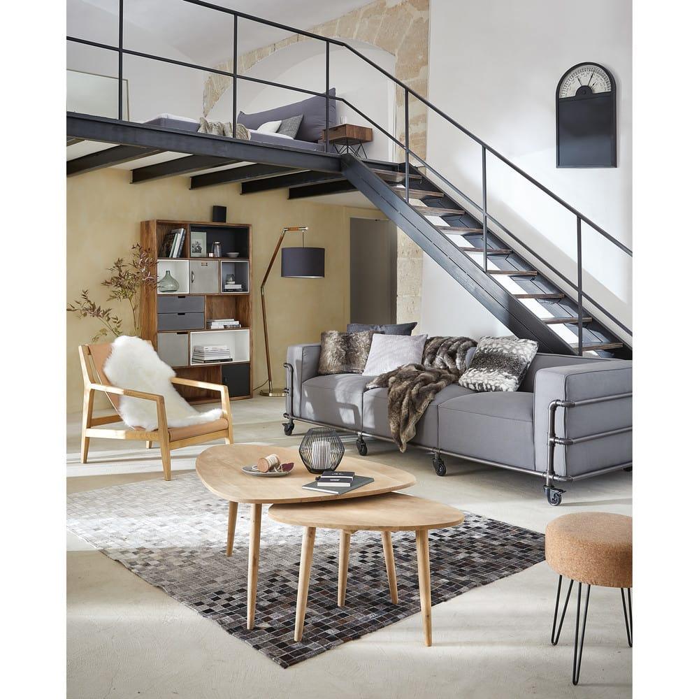 tapis en cuir de vache et laine 140x200 squaru maisons. Black Bedroom Furniture Sets. Home Design Ideas
