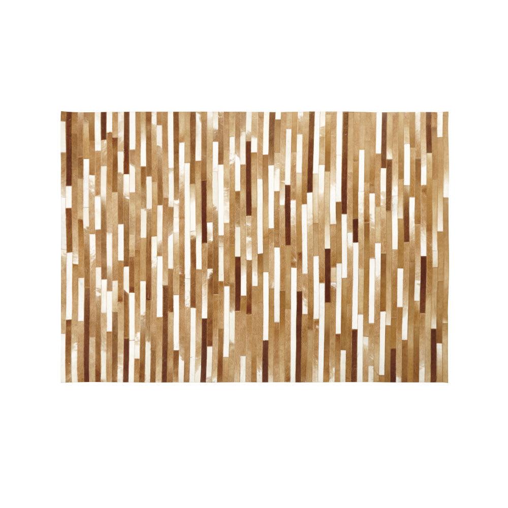 tapis en cuir de vache marron et beige 160x230 noma. Black Bedroom Furniture Sets. Home Design Ideas