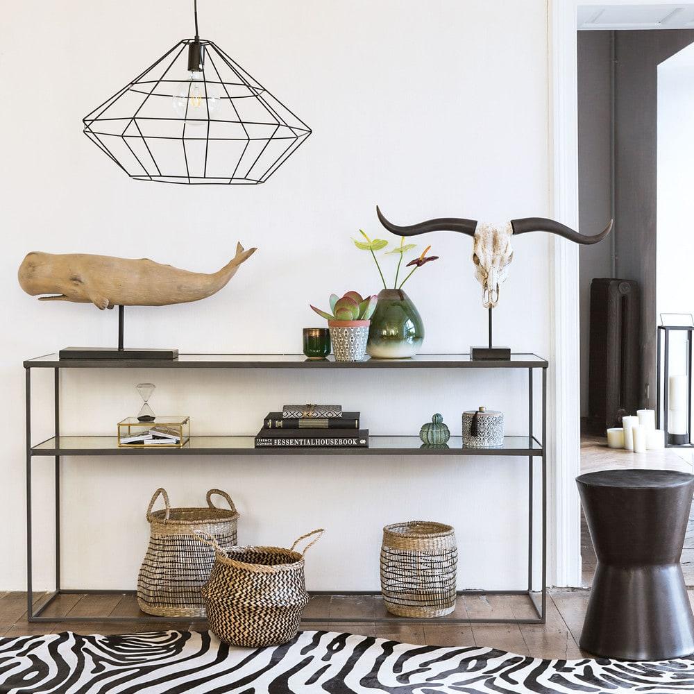 Tapis En Cuir Noir Et Blanc 170 X 240 Cm Zebra Maisons Du Monde