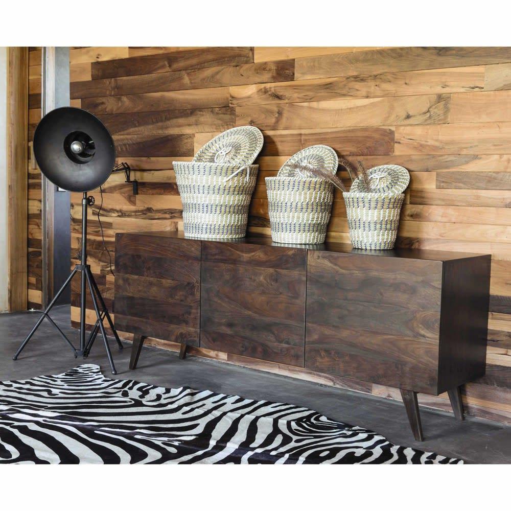 tapis en cuir noir et blanc 170 x 240 cm zebra maisons du monde. Black Bedroom Furniture Sets. Home Design Ideas