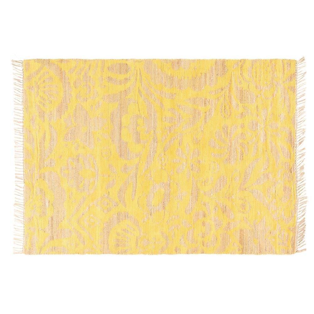 tapis en jute et coton motifs jaune moutarde 160x230. Black Bedroom Furniture Sets. Home Design Ideas