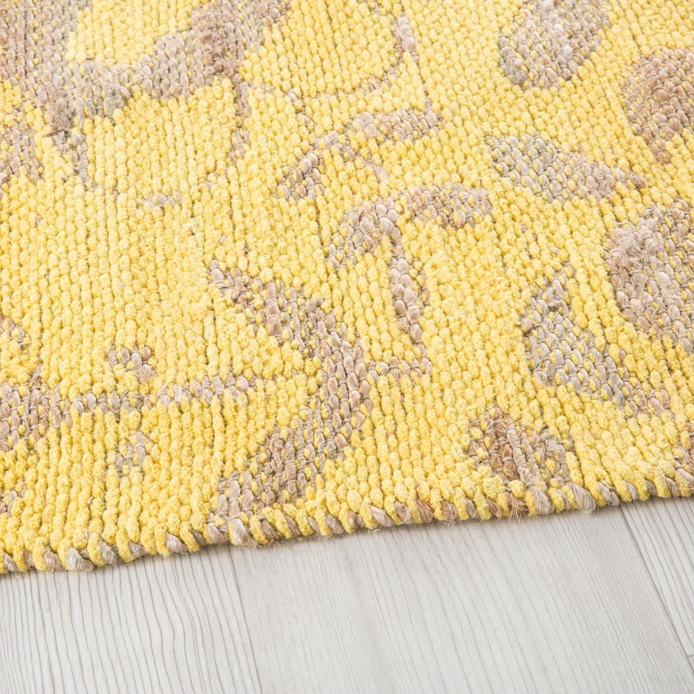 tapis en jute et coton motifs jaune moutarde 160x230 lukila maisons du monde. Black Bedroom Furniture Sets. Home Design Ideas