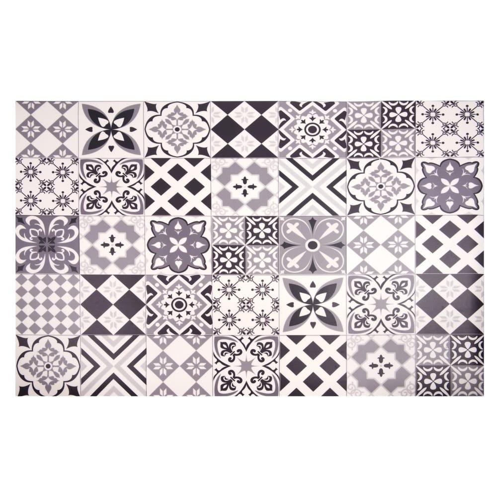 tapis en vinyle motifs carreaux de ciment 100x150 nova. Black Bedroom Furniture Sets. Home Design Ideas