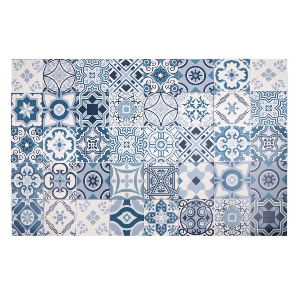 tapis en vinyle motifs carreaux de ciment 100x150 azul maisons du monde. Black Bedroom Furniture Sets. Home Design Ideas