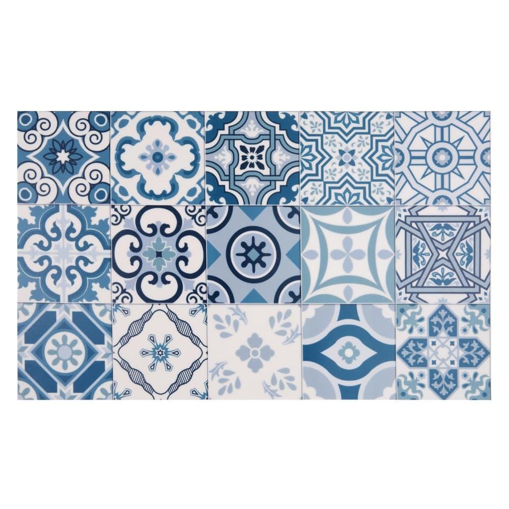 tapis en vinyle motifs carreaux de ciment 50x80 azul maisons du monde. Black Bedroom Furniture Sets. Home Design Ideas