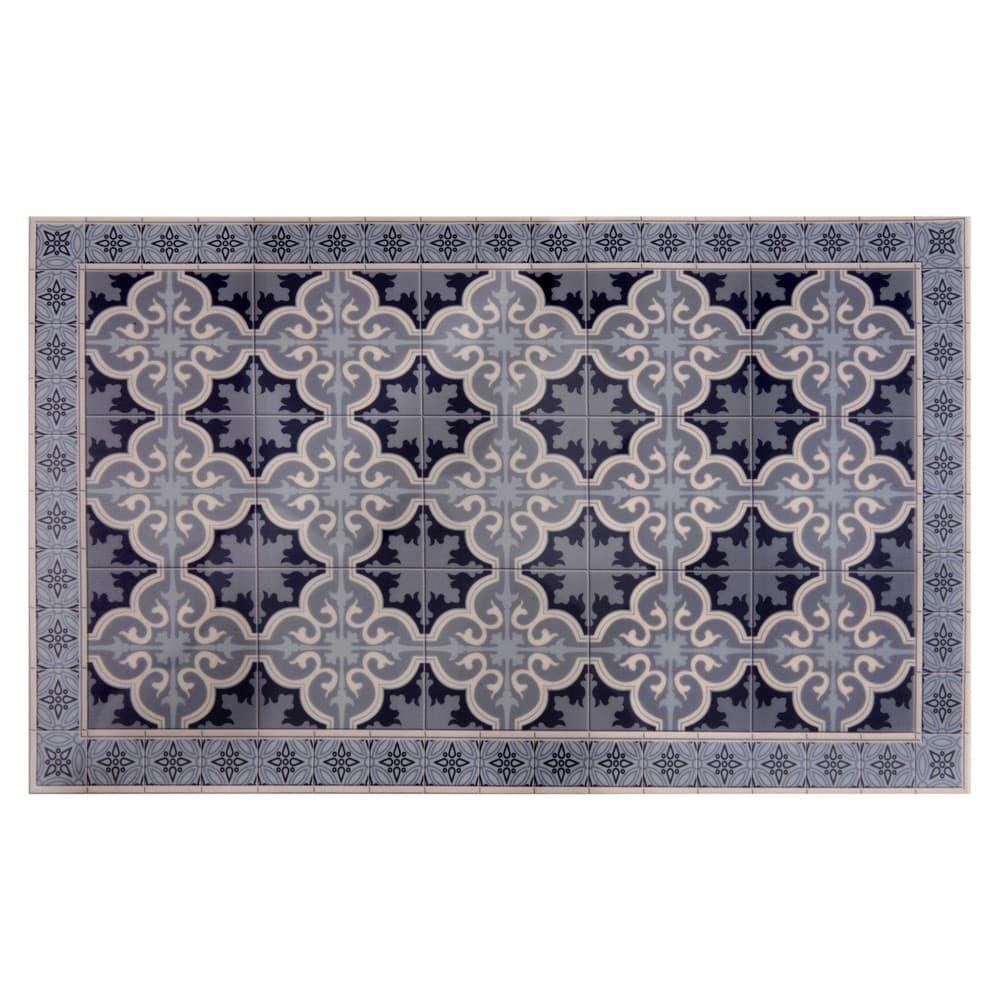 tapis en vinyle motifs carreaux de ciment 50x80 vila. Black Bedroom Furniture Sets. Home Design Ideas
