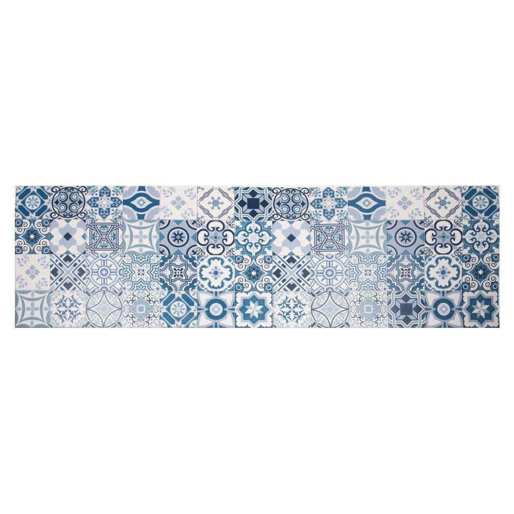 tapis en vinyle motifs carreaux de ciment 60x199 azul. Black Bedroom Furniture Sets. Home Design Ideas