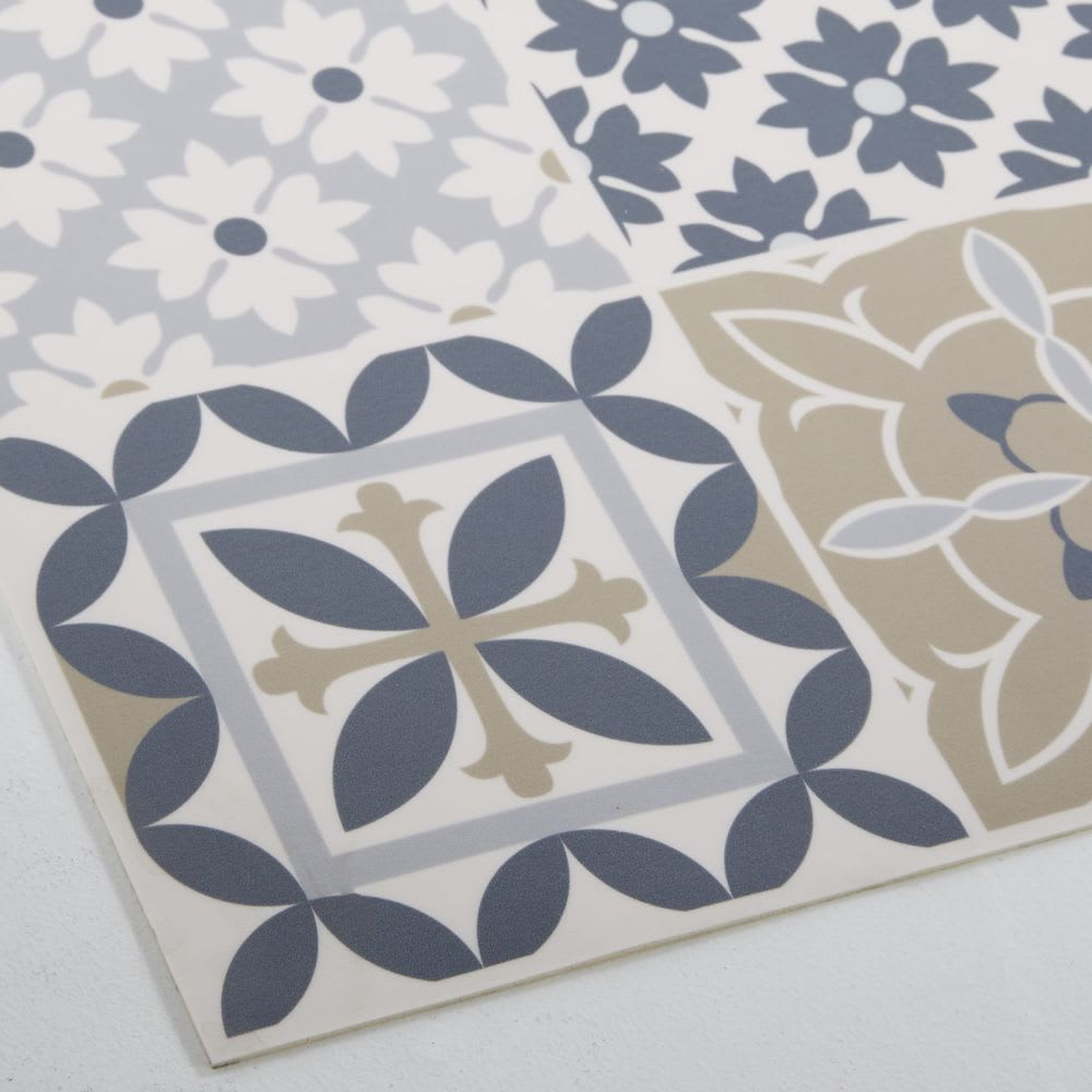 tapis en vinyle motifs carreaux de ciment multicolores. Black Bedroom Furniture Sets. Home Design Ideas
