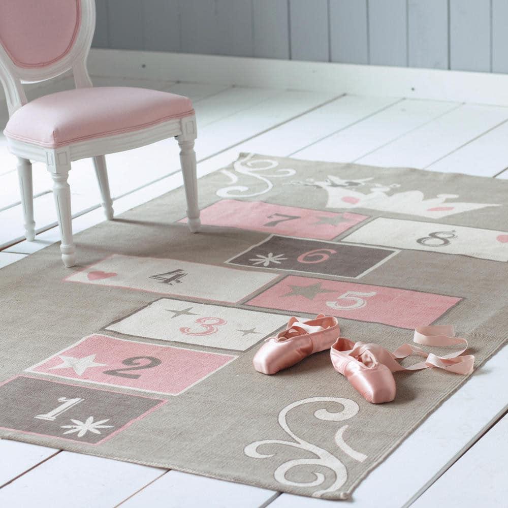 Tapis enfant marelle en coton gris rose 120 x 180 cm - Alfombras maison du monde ...