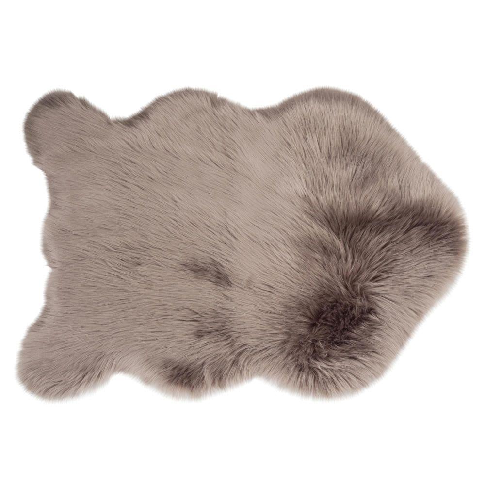 tapis imitation fourrure gris 60x90 maisons du monde. Black Bedroom Furniture Sets. Home Design Ideas