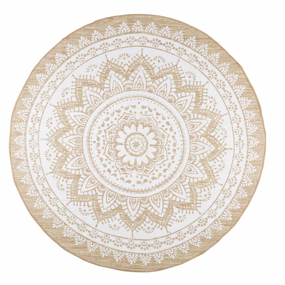 tapis rond en jute et coton blanc d180 mandala maisons. Black Bedroom Furniture Sets. Home Design Ideas