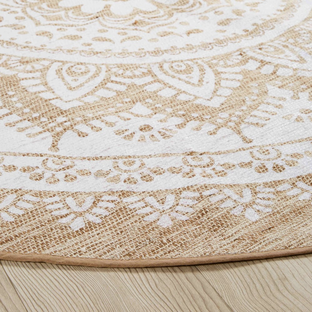 tapis rond en jute et coton blanc d180 mandala maisons. Black Bedroom Furniture Sets. Home Design Ideas