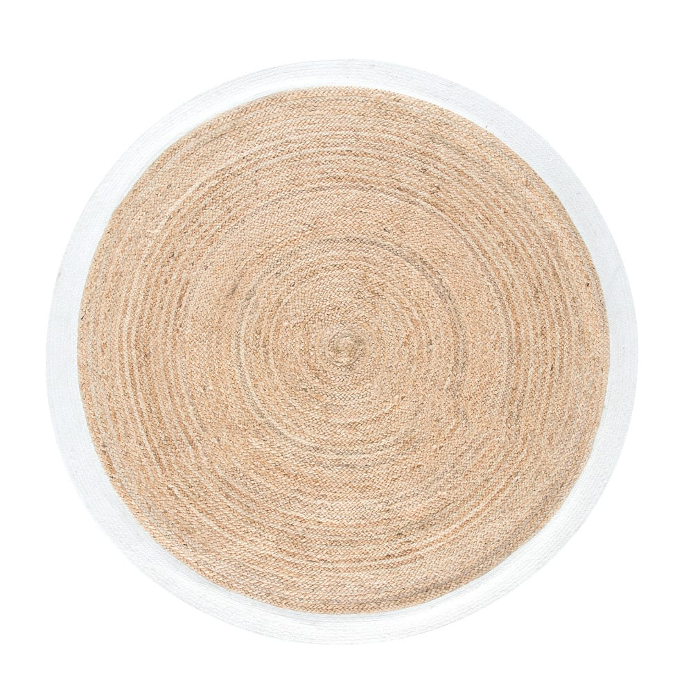 tapis rond tress en jute contour blanc d180 gaya maisons du monde. Black Bedroom Furniture Sets. Home Design Ideas