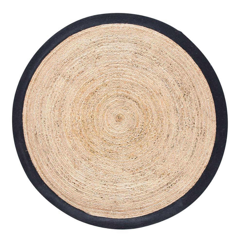 tapis rond tress en jute contour noir d180 gaya maisons du monde. Black Bedroom Furniture Sets. Home Design Ideas