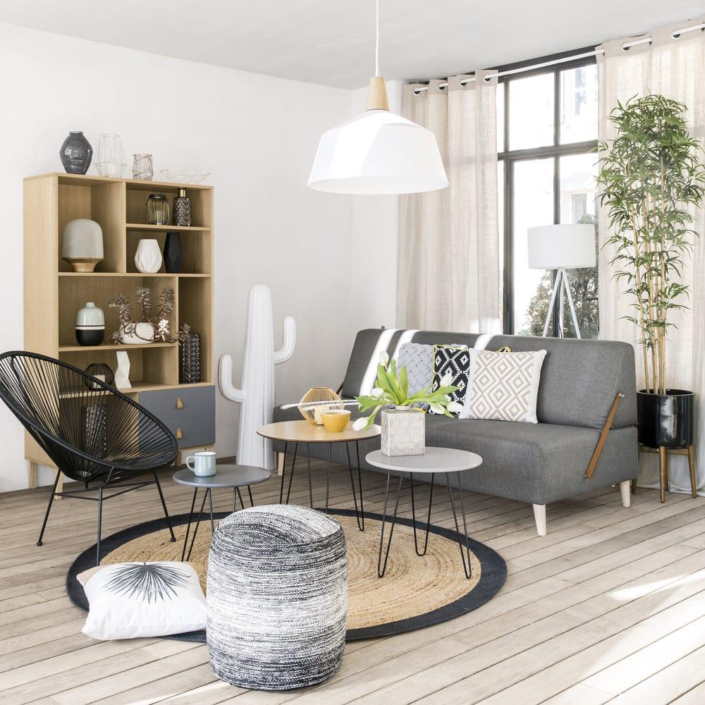 tapis rond tress en jute contour noir d180 gaya maisons. Black Bedroom Furniture Sets. Home Design Ideas