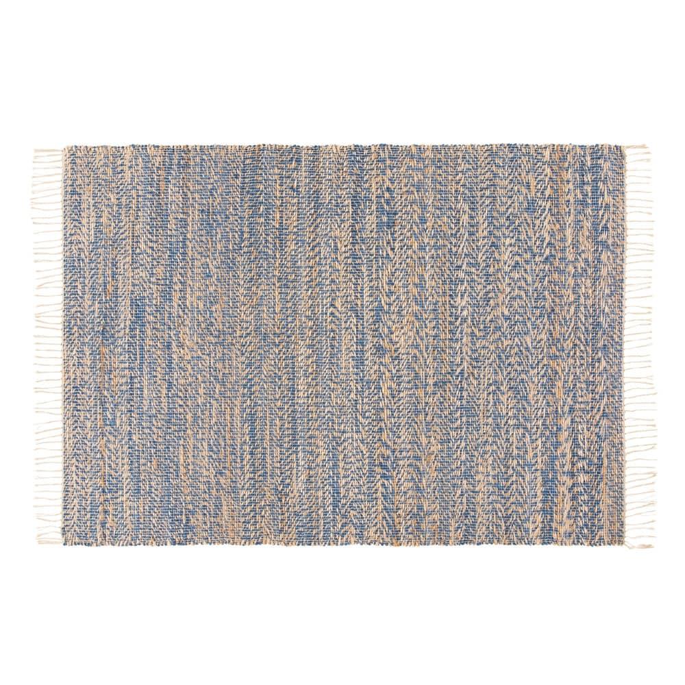 Tapis tressé en jute et coton bleu 140x200 Malio