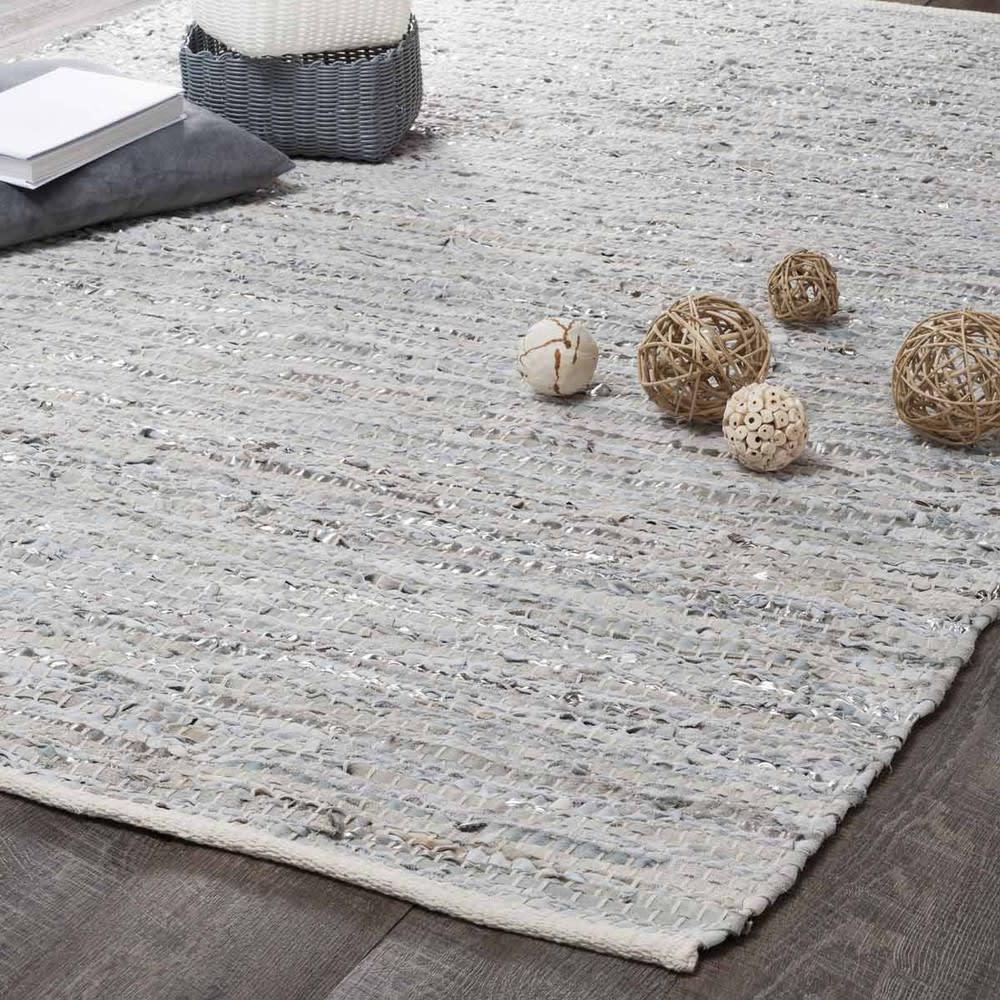 Tappeto beige e grigio in cuoio 140 x 200 cm