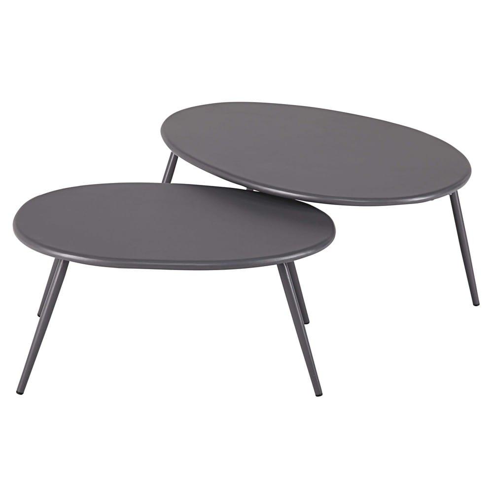 Tavoli sovrapponibili da giardino in metallo grigio lumpa maisons du monde - Maison du monde tavoli da giardino ...