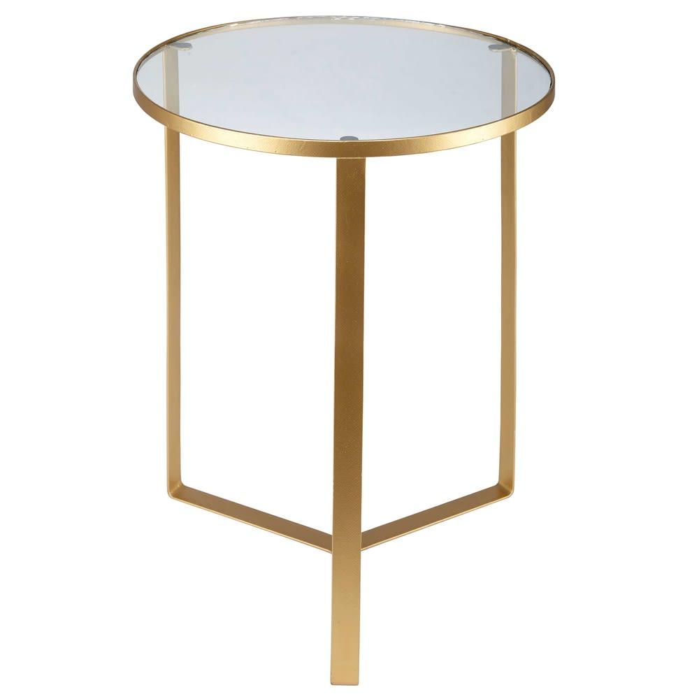 Tavolini Maison Du Monde.Tavolino Da Divano In Vetro E Metallo Dorato Olivia Maisons Du Monde