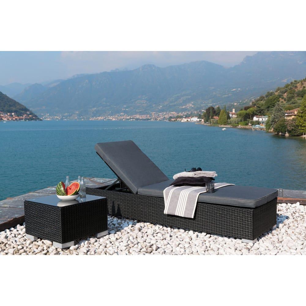 Tavolino da divano nero da giardino in resina intrecciata - Tavolino da giardino ikea ...