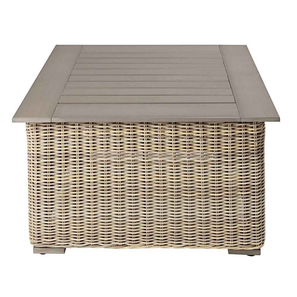 Tavolino da giardino in resina intrecciata sardaigne for Mobili da giardino resina