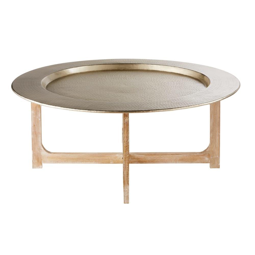 Tavolini Maison Du Monde.Tavolino Da Salotto In Alluminio Martellato E Legno Massello Di