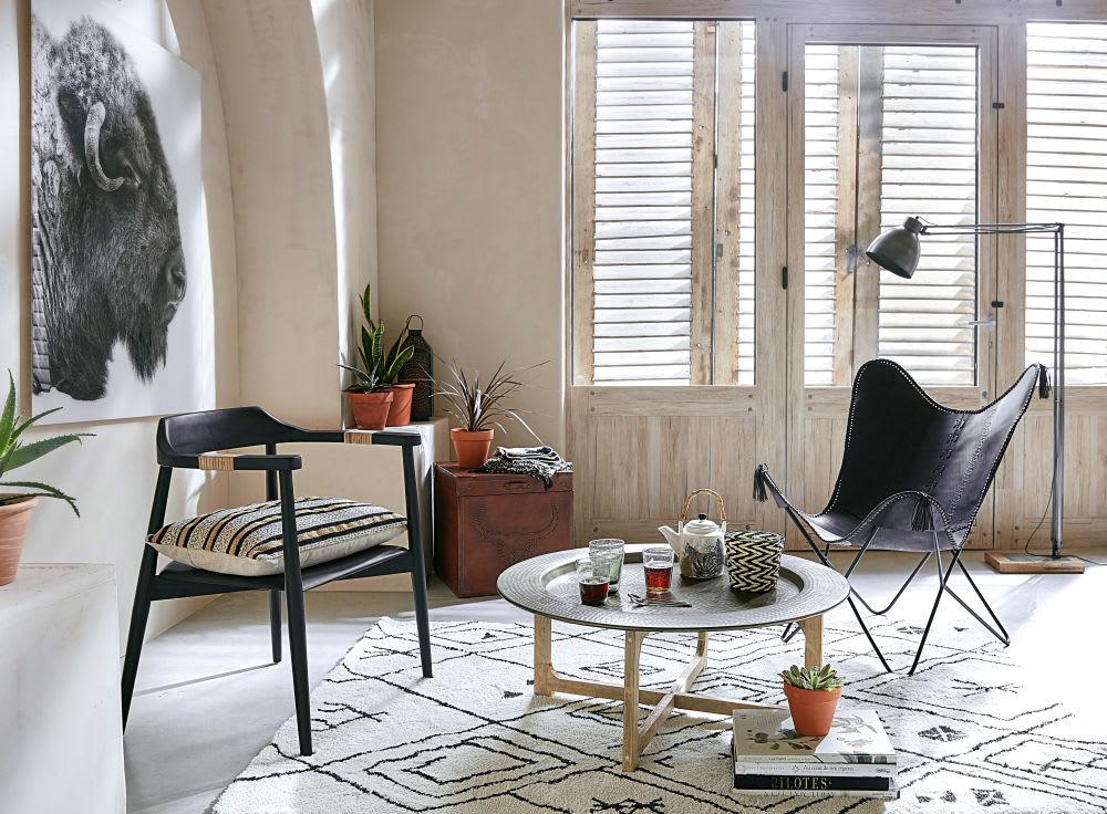 Tavolini In Legno Da Salotto : Tavolino da salotto in alluminio martellato e legno massello di
