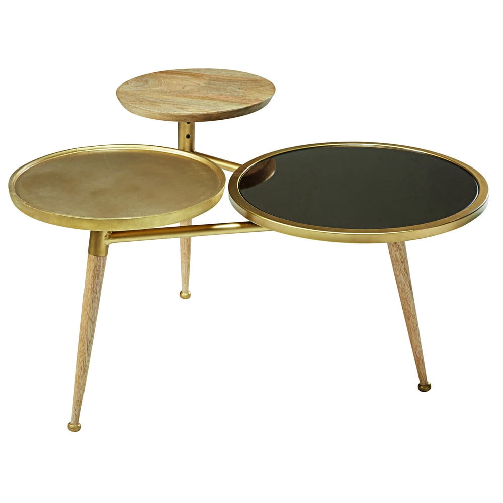 Tavolino da salotto in legno di mango e metallo dorato