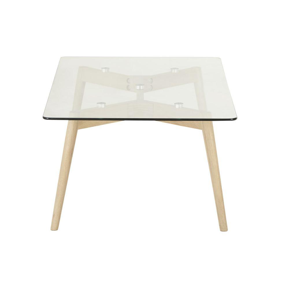 Tavolino da salotto in vetro e legno di quercia Mirage | Maisons du ...